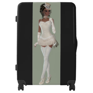 African American Woman Large Luggage Suitcase