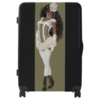 African American Woman Large Sized Luggage