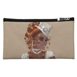 African American Woman Sueded Medium Cosmetic Bag