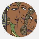 African American women sister friends Round Sticker