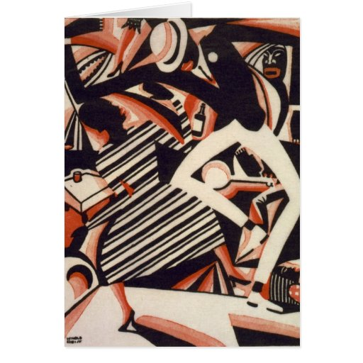 African Americans 1920s - Drawing in Two Colors Greeting Card