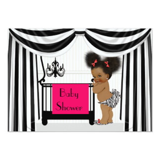 African AmericanZebra Print and Drapes Baby Shower Card