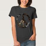 African Animal Pattern Peace Symbol Tee Shirt