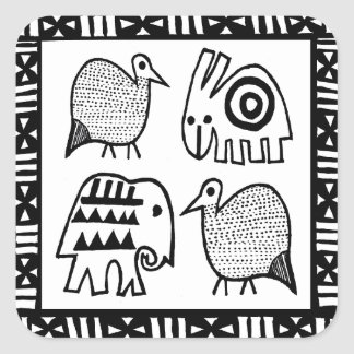 African Animal Spirits Square Sticker
