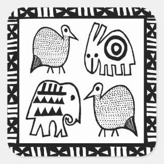 African Animal Spirits Square Sticker