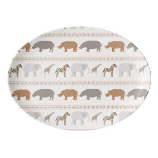 African animals pattern 1 porcelain serving platter