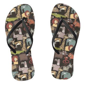 African Animals Pattern Flip Flops