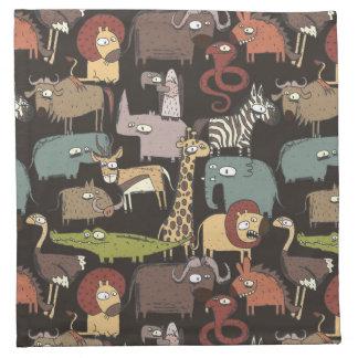 African Animals Pattern Napkin