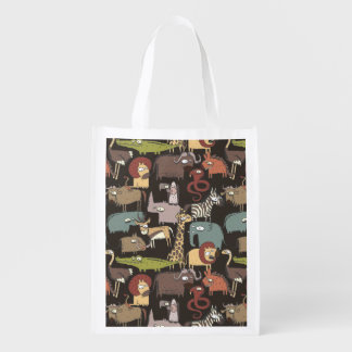 African Animals Pattern Reusable Grocery Bag
