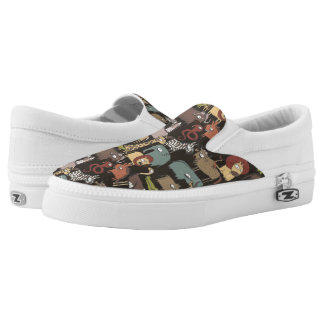 African Animals Pattern Slip On Shoes
