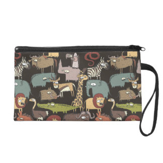 African Animals Pattern Wristlet Purses