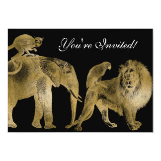 African Animals Zoo Wedding Safari Lion Gold Card