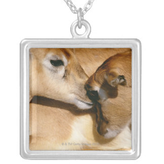 African antelope and fawn silver plated necklace