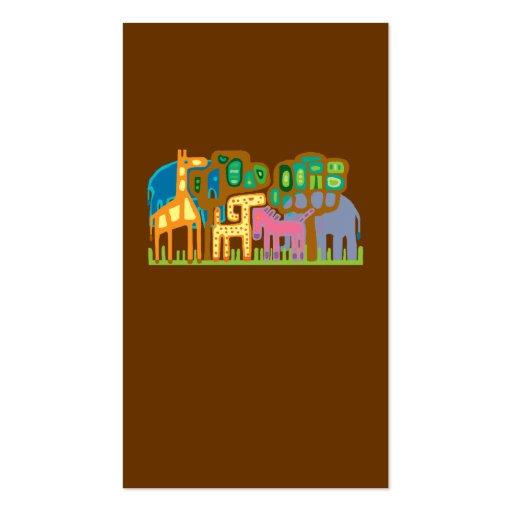 African art animals business cards
