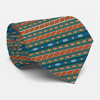 African Art Blue Teal Orange Patterns tie