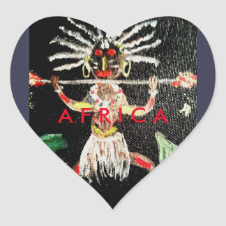 African Art Heart Sticker