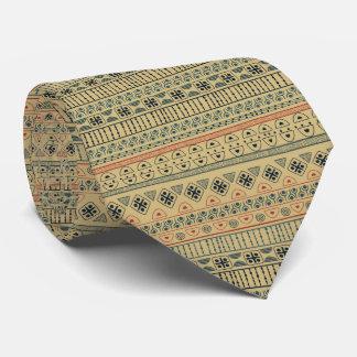 African Art Neutral Peach Taupe Blue tie