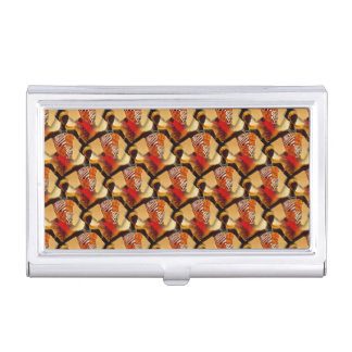 African Art women colorful earth tones Business Card Holders