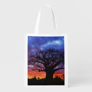African baobab tree, Adansonia digitata, 2 Reusable Grocery Bag