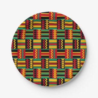 African Basket Weave Pride Red Yellow Green Black Paper Plate