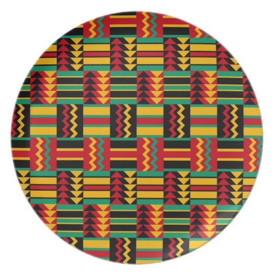 African Basket Weave Pride Red Yellow Green Black Plate