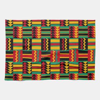 African Basket Weave Pride Red Yellow Green Black Tea Towel