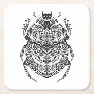African Beetle Zendoodle Square Paper Coaster