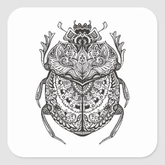 African Beetle Zendoodle Square Sticker