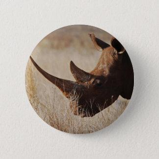 African black rhino with big horns 6 cm round badge