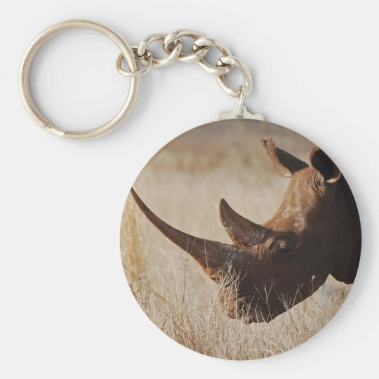 African black rhino with big horns basic round button key ring