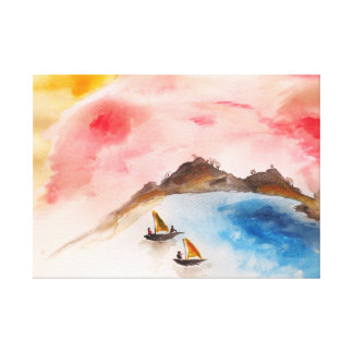 African boats Premium Wrapped Canvas