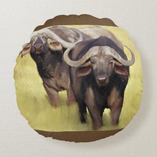 African Buffalo Round Cushion