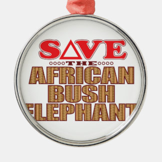 African Bush Elephant Save Silver-Colored Round Decoration