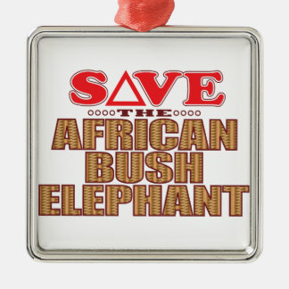 African Bush Elephant Save Silver-Colored Square Decoration