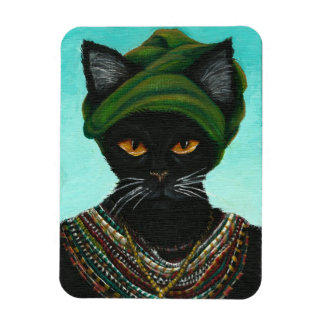 African Cat in Native Tribal Jewelry Vinyl Magnets