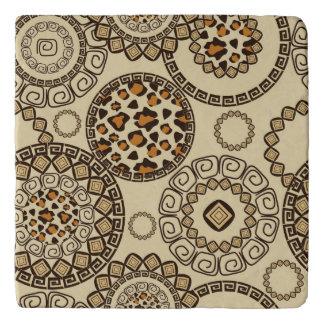 African cheetah skin pattern 3 trivet