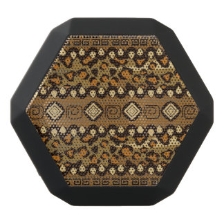 African cheetah skin pattern black bluetooth speaker