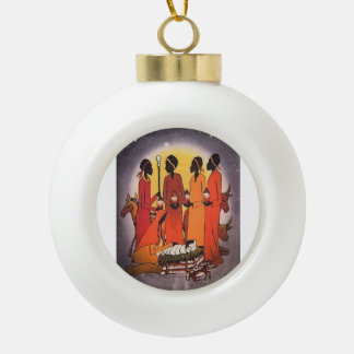 African Christmas Nativity Scene Ceramic Ball Decoration