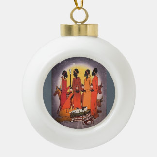 African Christmas Nativity Scene Ceramic Ball Decoration