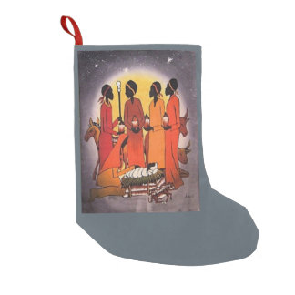 African Christmas Nativity Scene Small Christmas Stocking