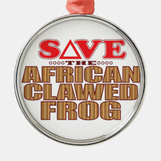African Clawed Frog Save Silver-Colored Round Decoration
