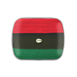 African Cowrie Shell on Red Black Green Crochet Candy Tins