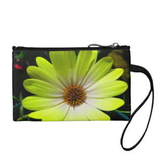 African Daisy Fluorescent Yellow Bagettes Bag Coin Purses