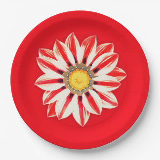 African Daisy / Gazania - Red and White Striped 9 Inch Paper Plate