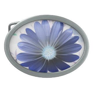 African Daisy Glowing Blue Belt Buckle