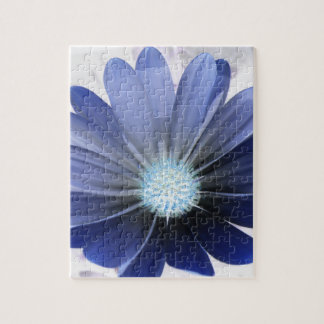 African Daisy Glowing Blue Puzzle