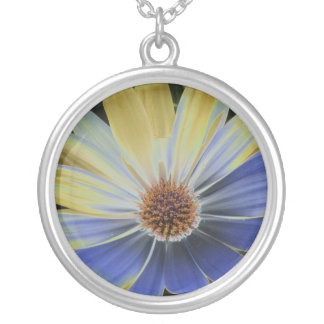 African Daisy Lapis and Gold Necklace