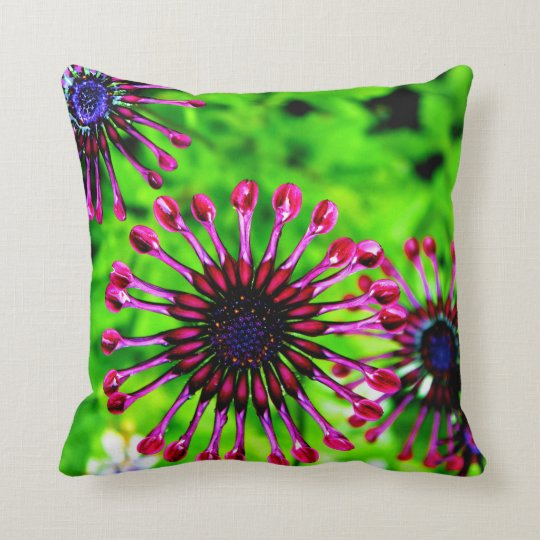 African Daisy Pink Green Flower throw pillow