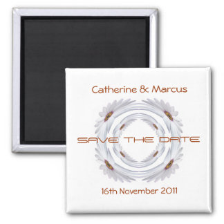 African Daisy Ring Save The Date Square Magnet
