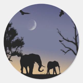 African dawn - elephants round sticker